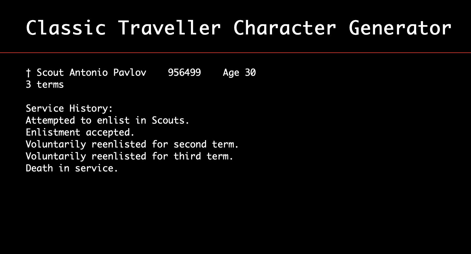 Traveller Character Generator